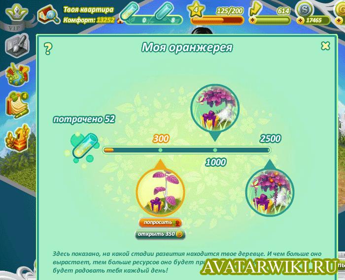 Стадии роста деревца в игре Аватария